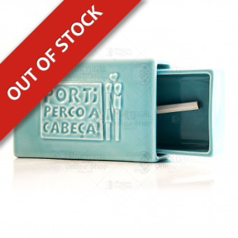 Stoneware Faience Matchbox with Slate - Blue - Por Ti Perco a Cabeça